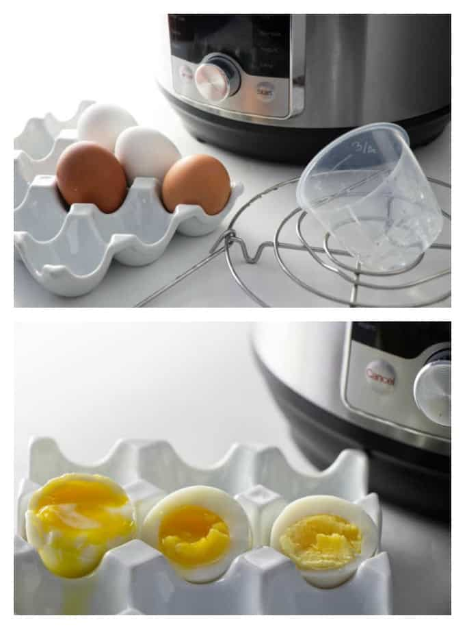 collage of instant pot with eggs and instant pot cooked eggs sliced open