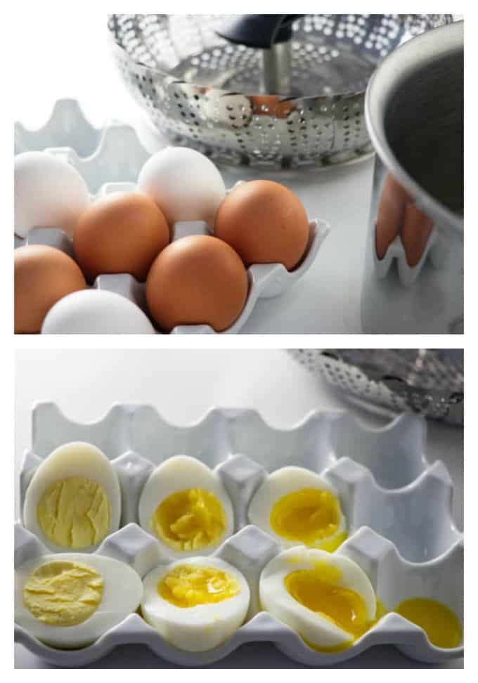 collage of hard boiled eggs steamed and cut open with a photo of eggs and a steamer basket