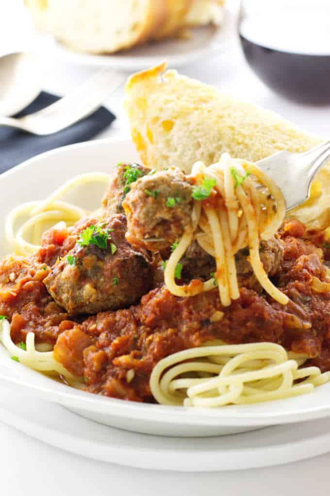 Close up of Italian meatball spaghetti dinner