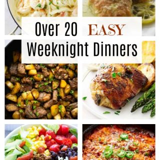 collage of six photos for weeknight dinners