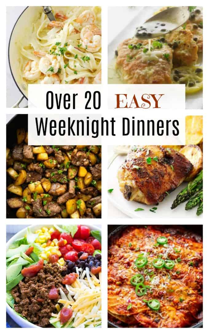 collage of six photos for easy weeknight dinners