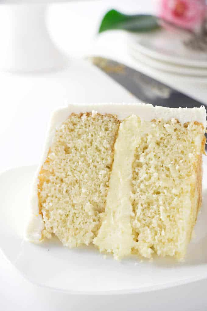 a slice of 6-inch yellow layer cake
