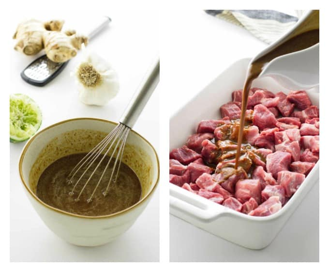 collage of peanut dipping sauce and marinated pork