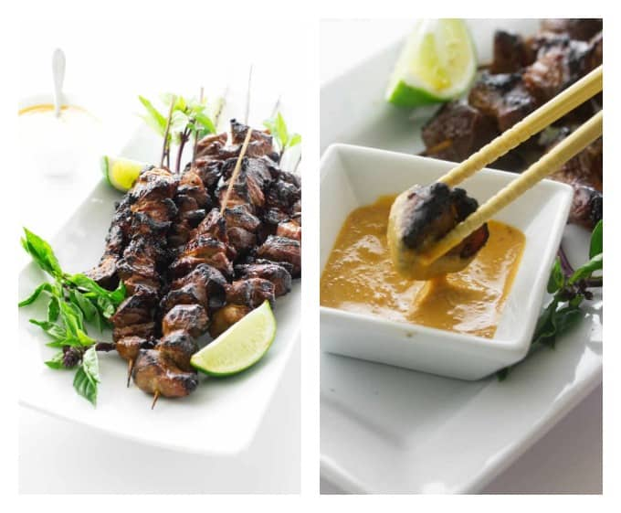 collage of two photos of grilled pork satay