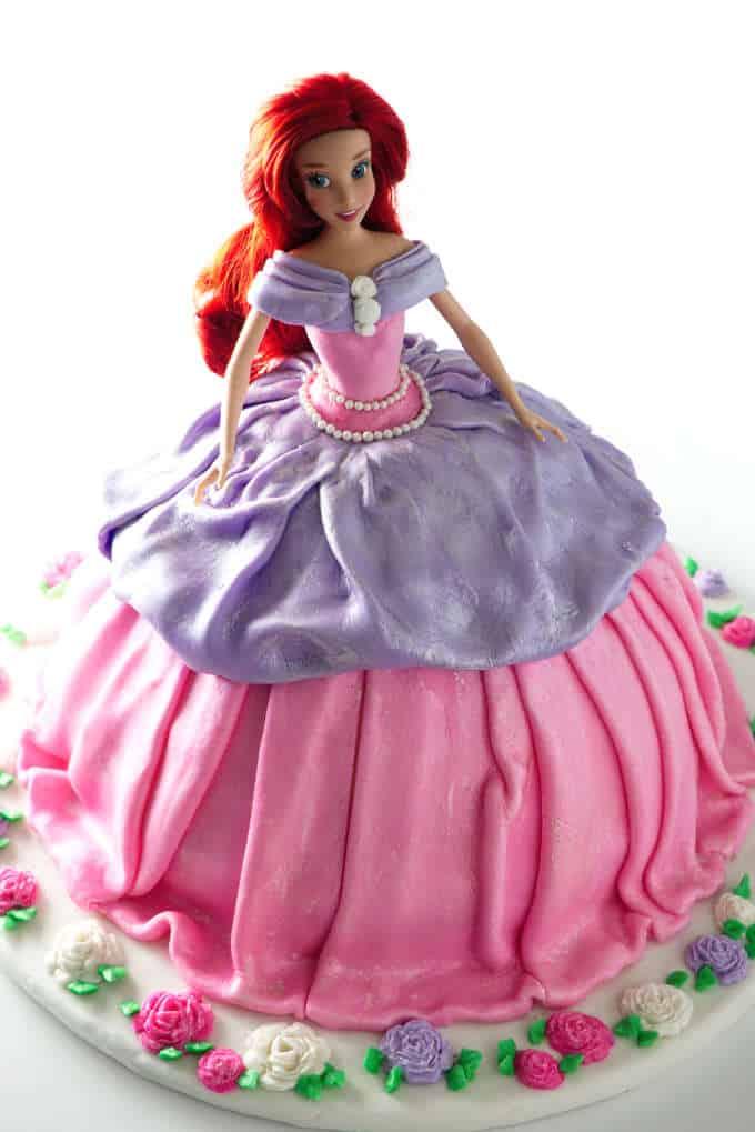 overhead photo of Barbie cake