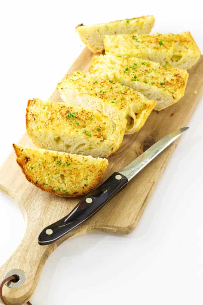 Garlic Bread on a cutting board
