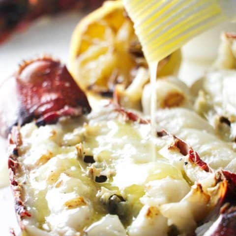 Grilled Lobster Tails with Garlic Butter Sauce