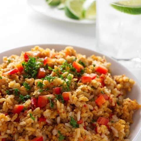 close up of Spanish rice