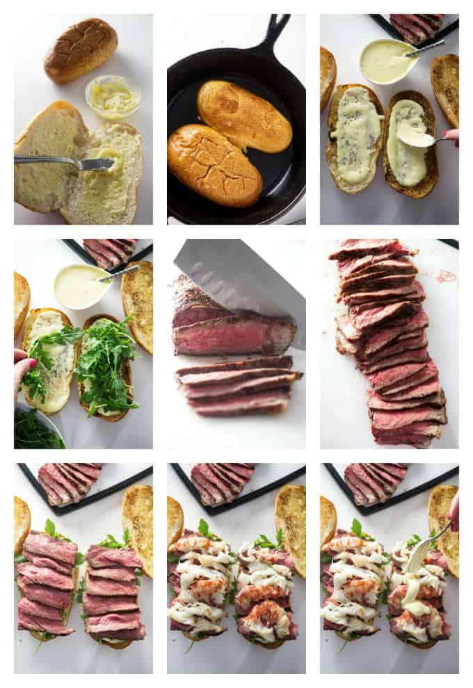 collage of 9 photos making a steak and lobster sandwich