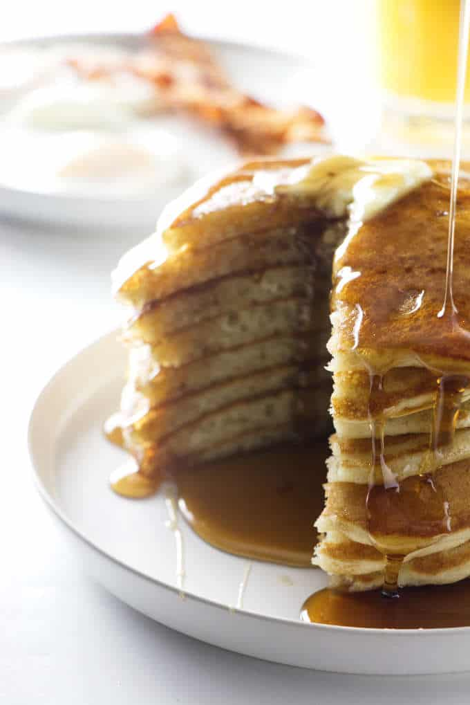 Stack of partially eaten pancakes