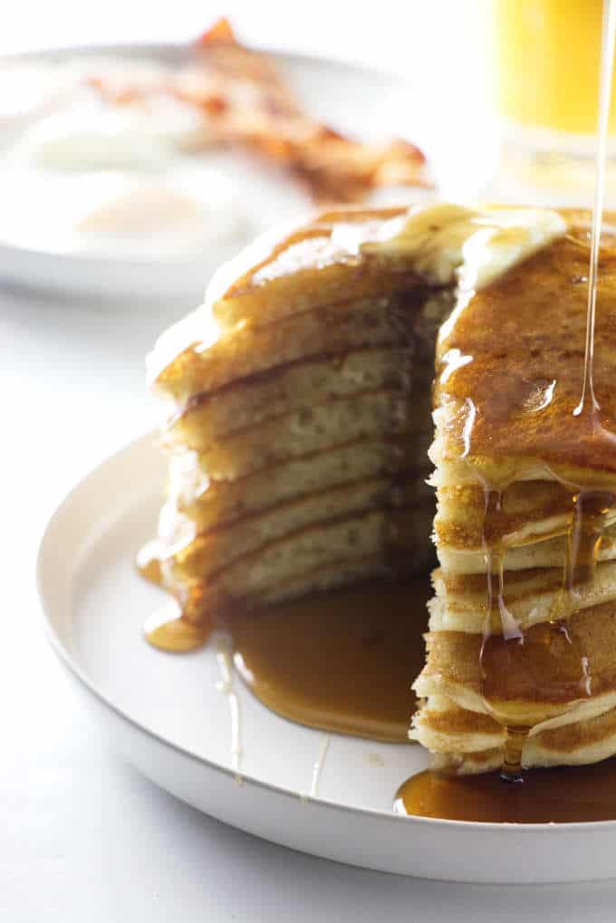 Stack of partially eaten pancakes