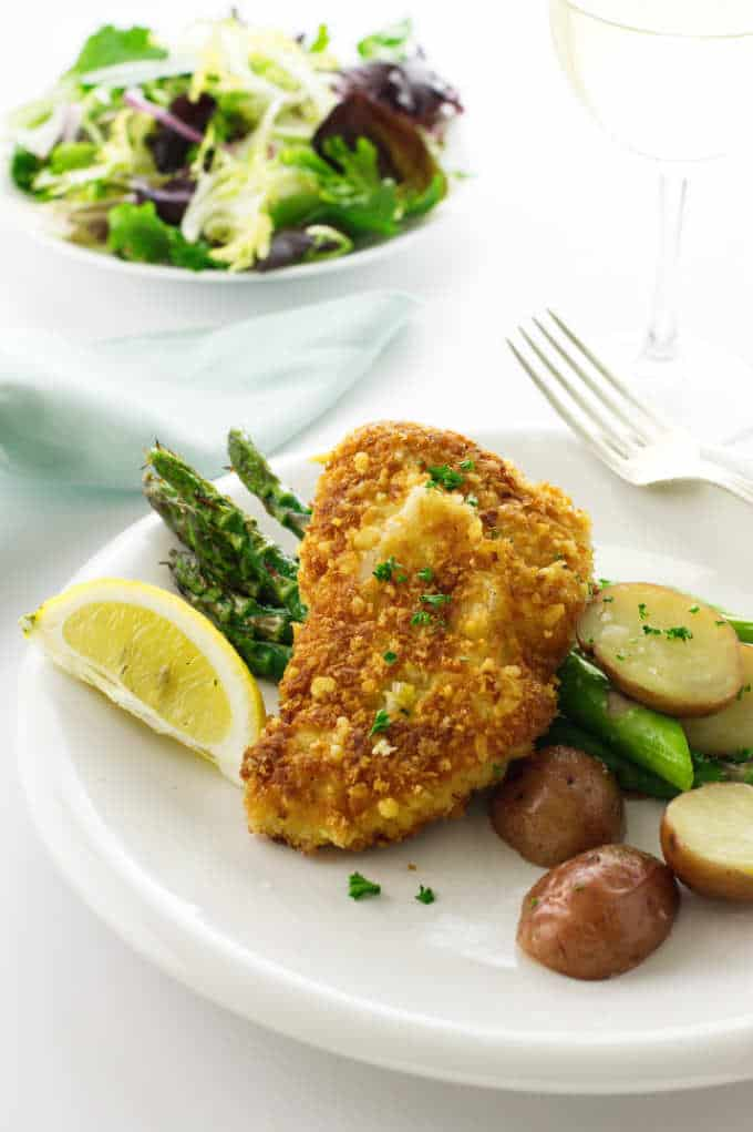 Parmesan Crusted Chicken on a dinner plate