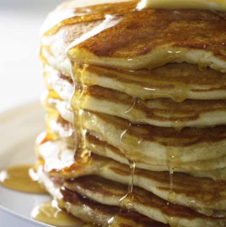 stack of 8 sourdough pancakes