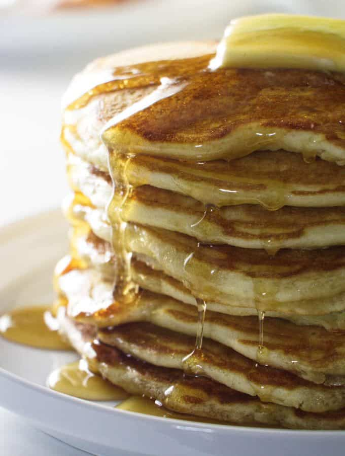 stack of 8 sourdough pancakes