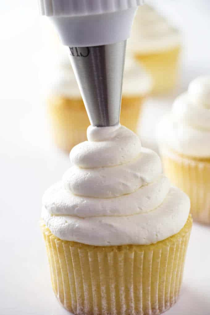closeup of a cupcake with buttercream frosting