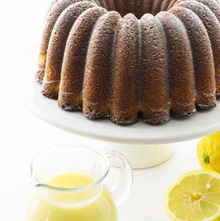 Lemon bundt cake with creamy lemon dessert sauce