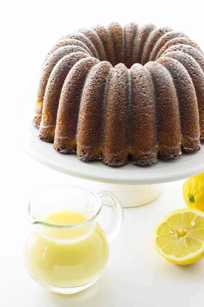 Lemon bundt cake with creamy lemon dessert sauce