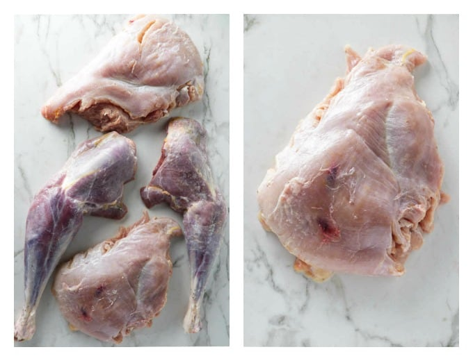 collage of 2 photos showing leg, breast and thigh meat from a turkey