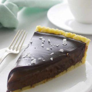 A slice of truffle-like Chocolate Caramel Tart