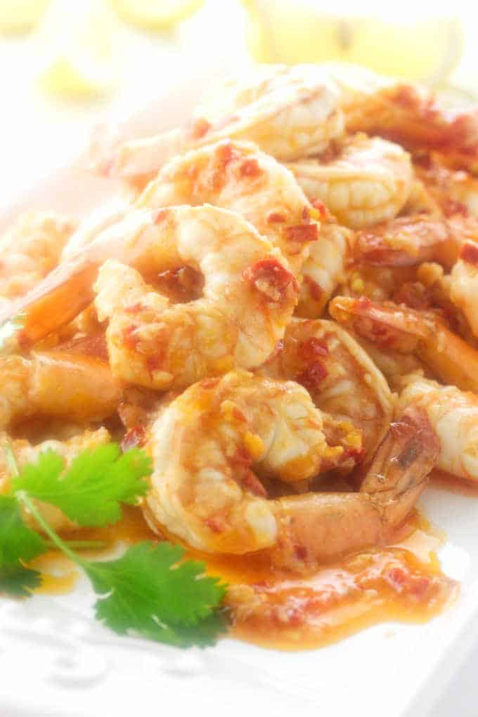 Close up of spicy shrimp