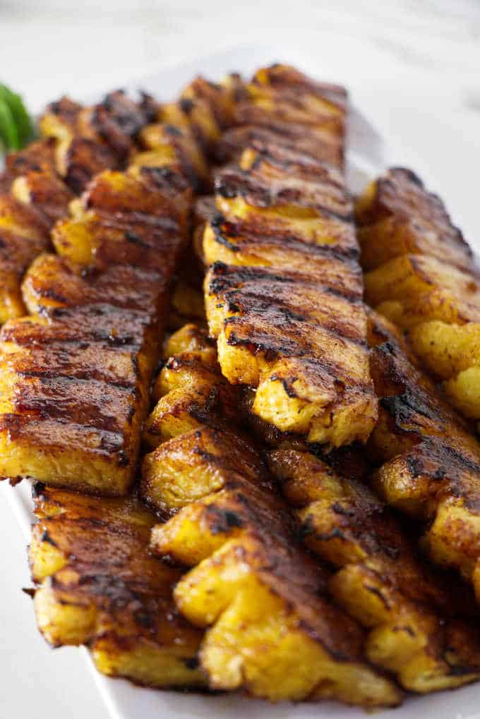 close up photo of grilled pineapple