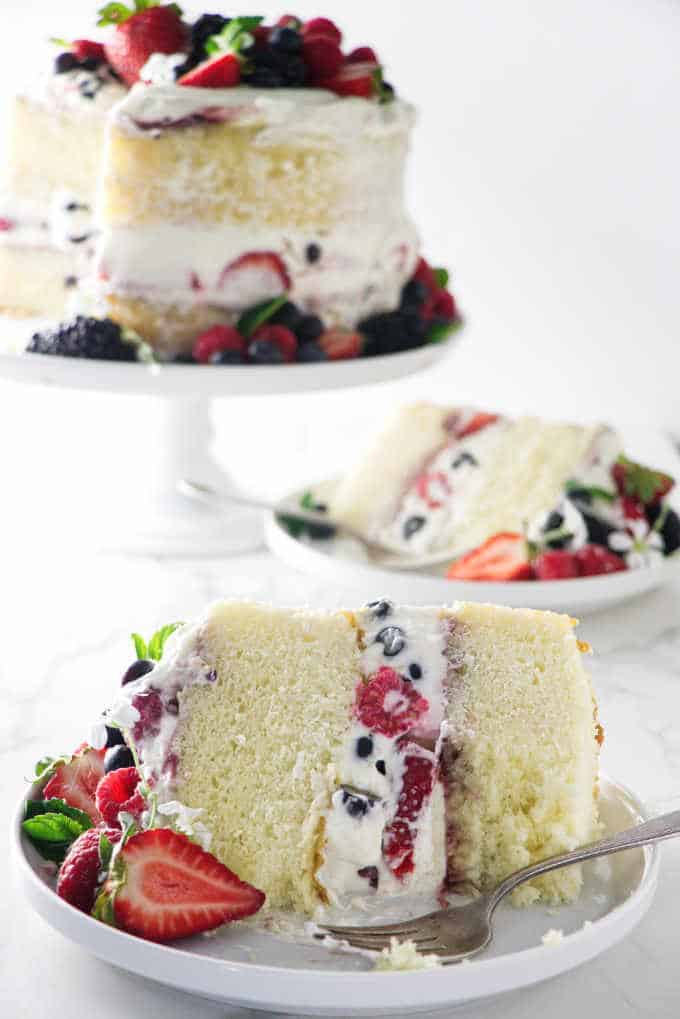 slices of cake with berries