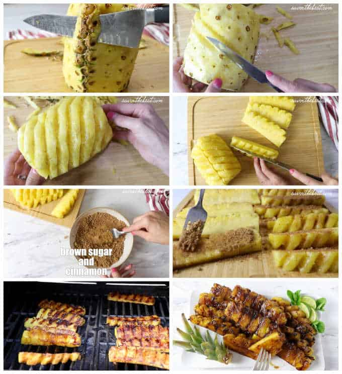 collage of 8 photos showing process steps on how to grill pineapple