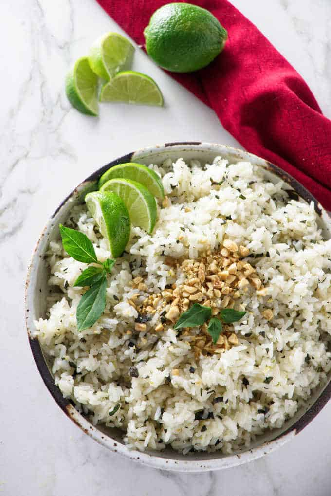 overhead photo of basil lime rice in a bowl