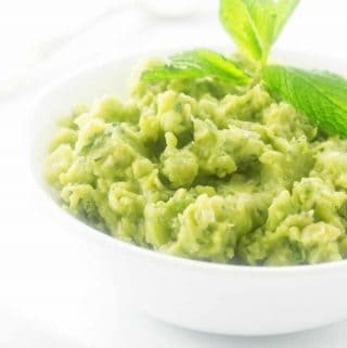 Mushy peas in a serving dish