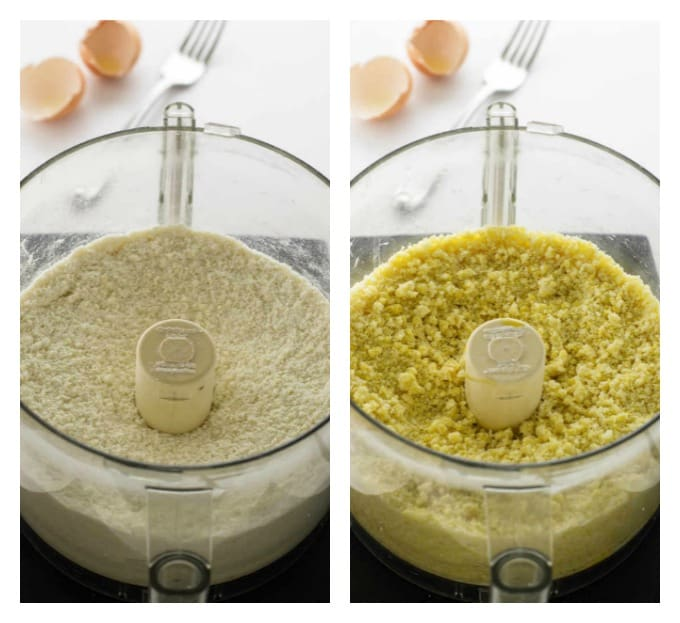 collage of two photos showing the process to make a shortbread pastry crust.