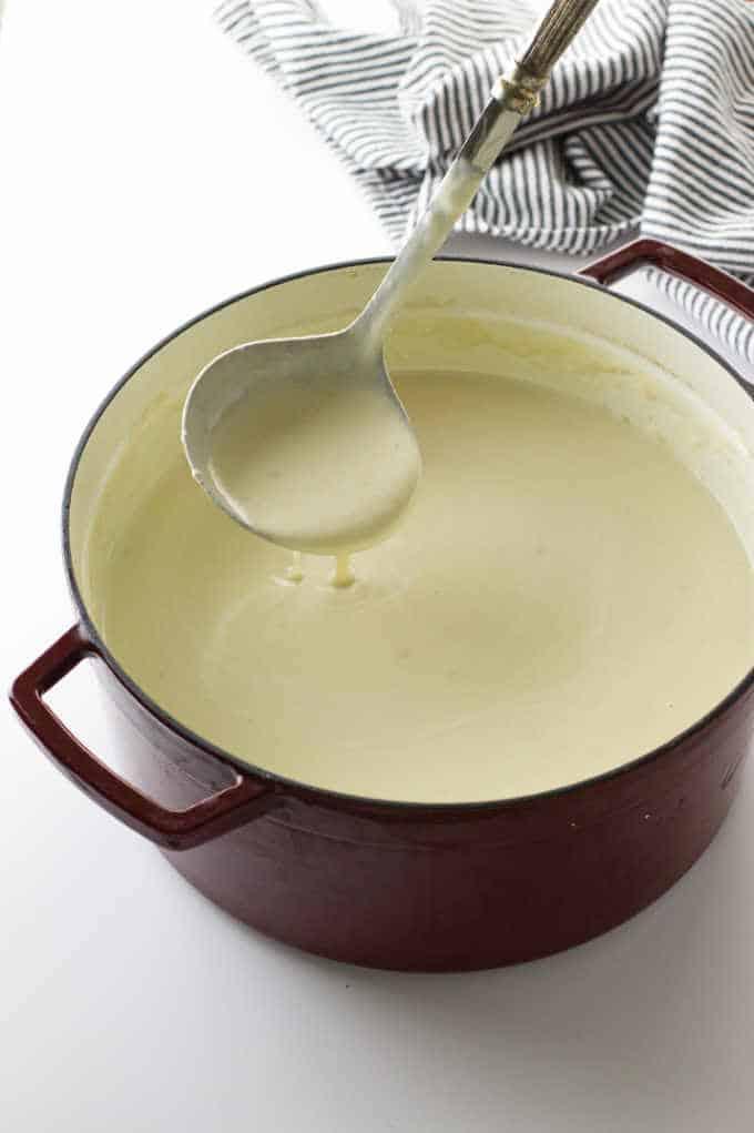 A pot of potato leek soup