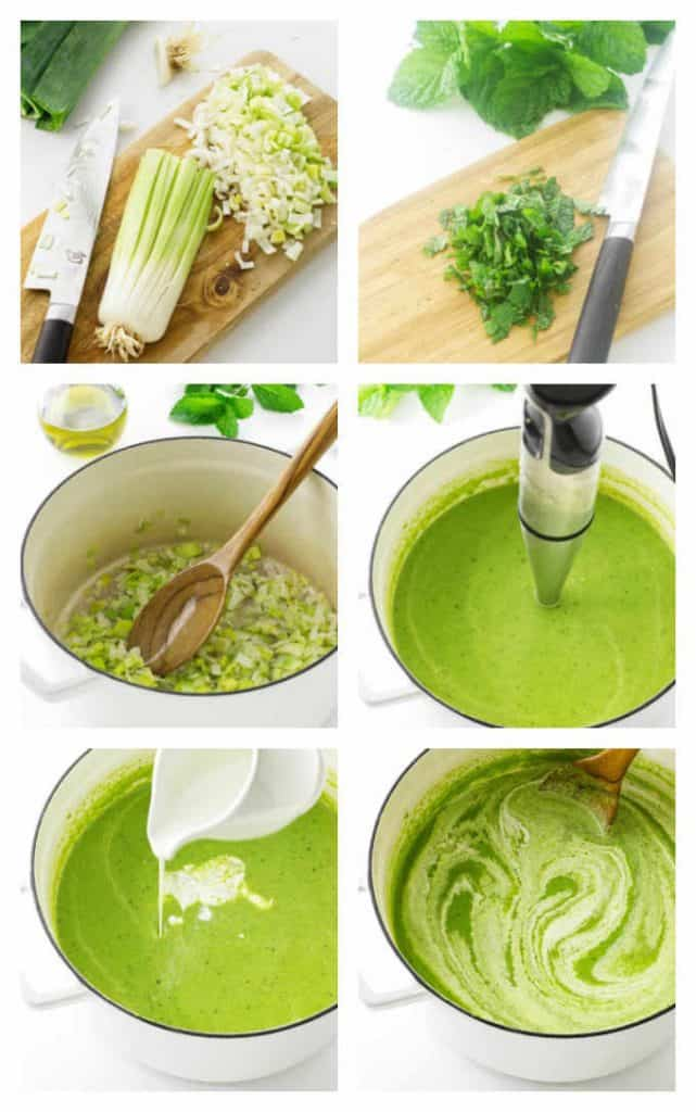 collage of process photos making green pea soup