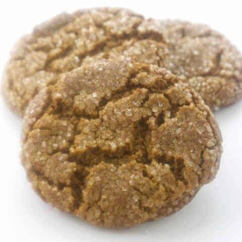 Three soft, sugary molasses cookies