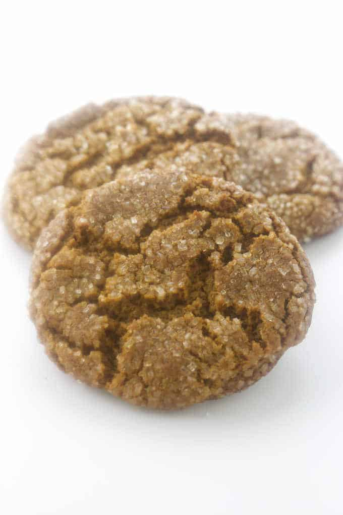 Three soft, sugary molasses cookies