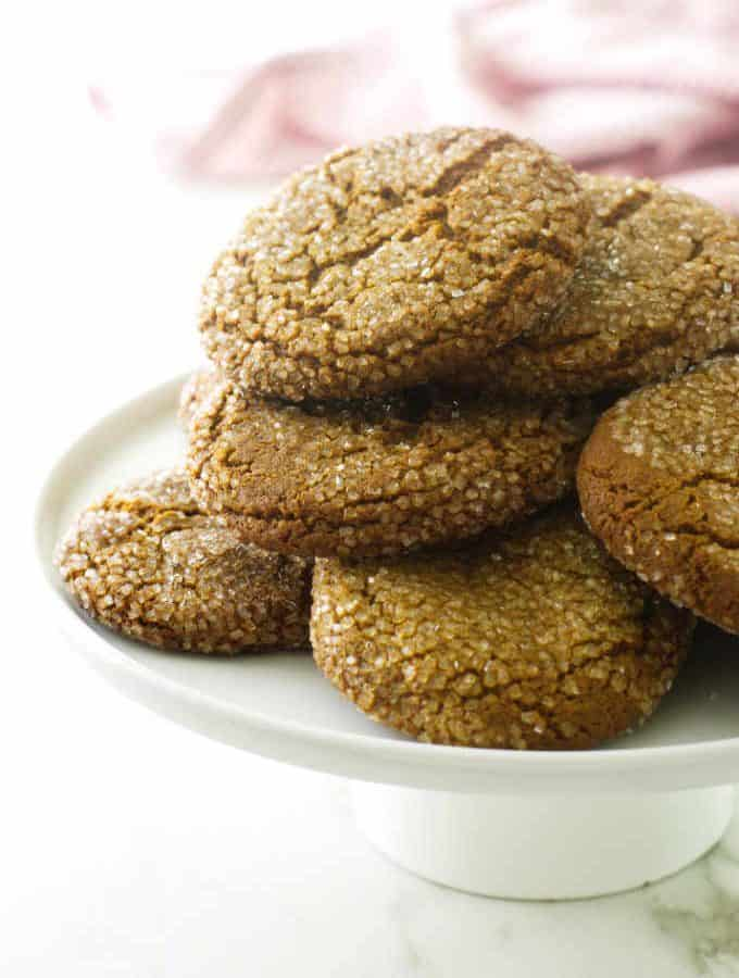 A plate of soft and chewy molasses spice cookies