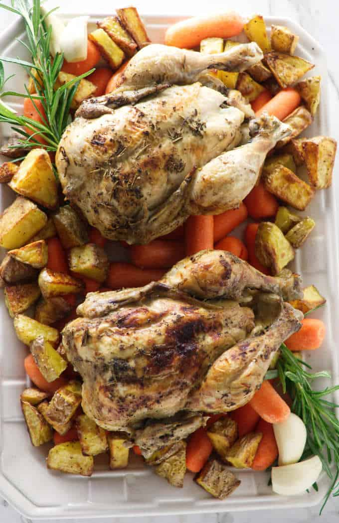 Two Cornish game hens plated with roasted carrots and potatoes