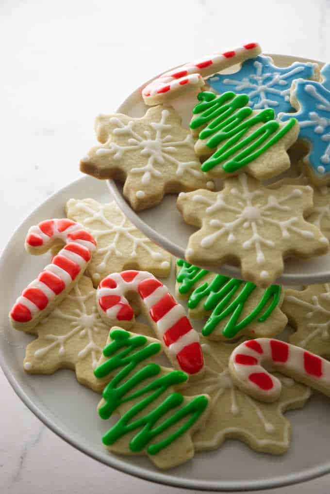 perfect sugar cookies decorated on a platter