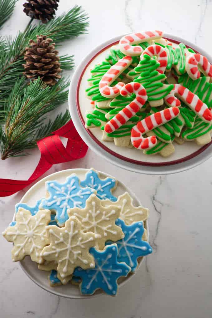 Festive Christmas cookies on two plates