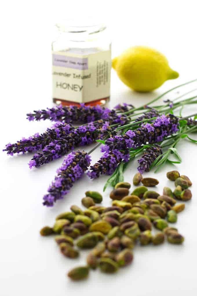 Lavender honey, fresh lavender blooms, lemon and pistachios