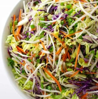 close-up of kimchee slaw
