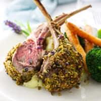 Lavender Pistachio Crusted Rack of Lamb