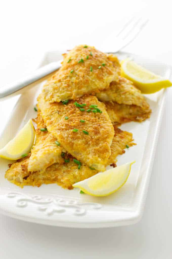 Overhead view of Parmesan Baked Sole on a platter