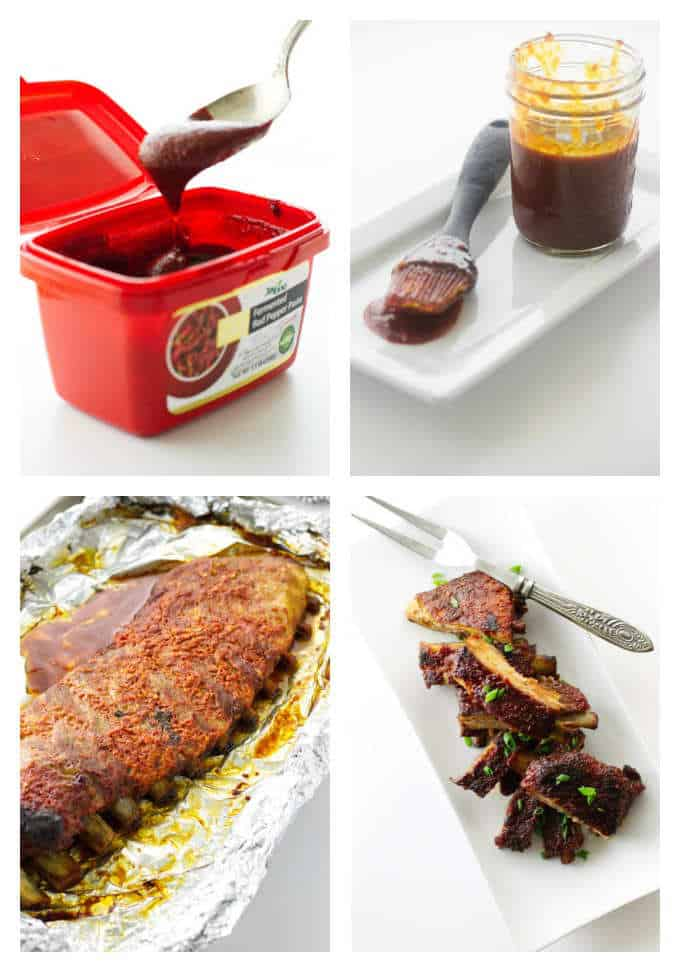 College of Korean chili paste, glaze in jar, ribs, plate of ribs