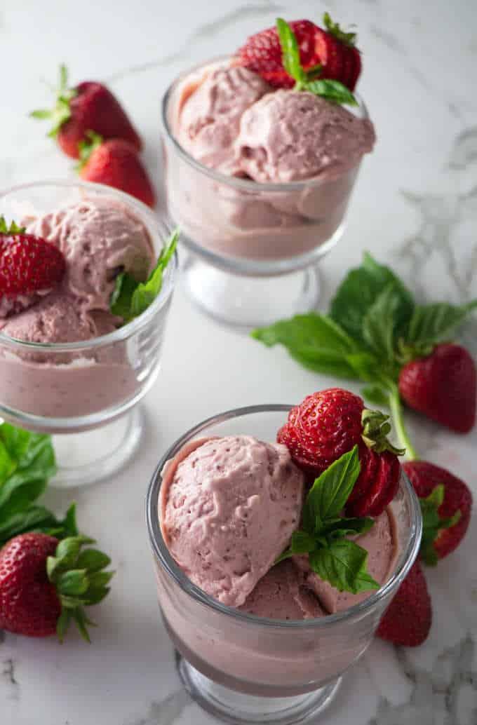 overhead shot of strawberry basil goat cheese ice cream
