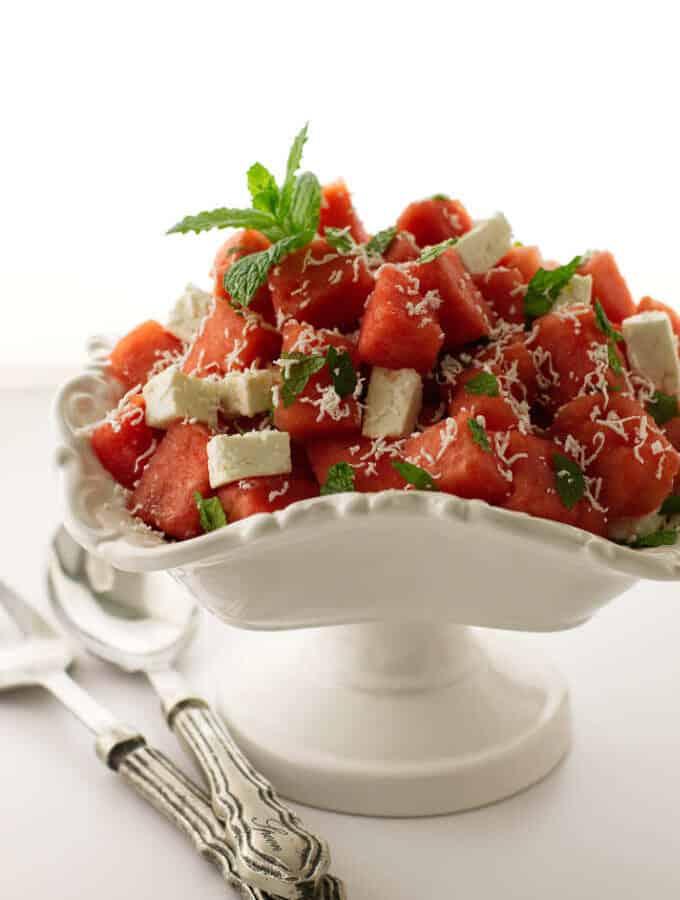 Bowl of watermelon, feta and mint salad