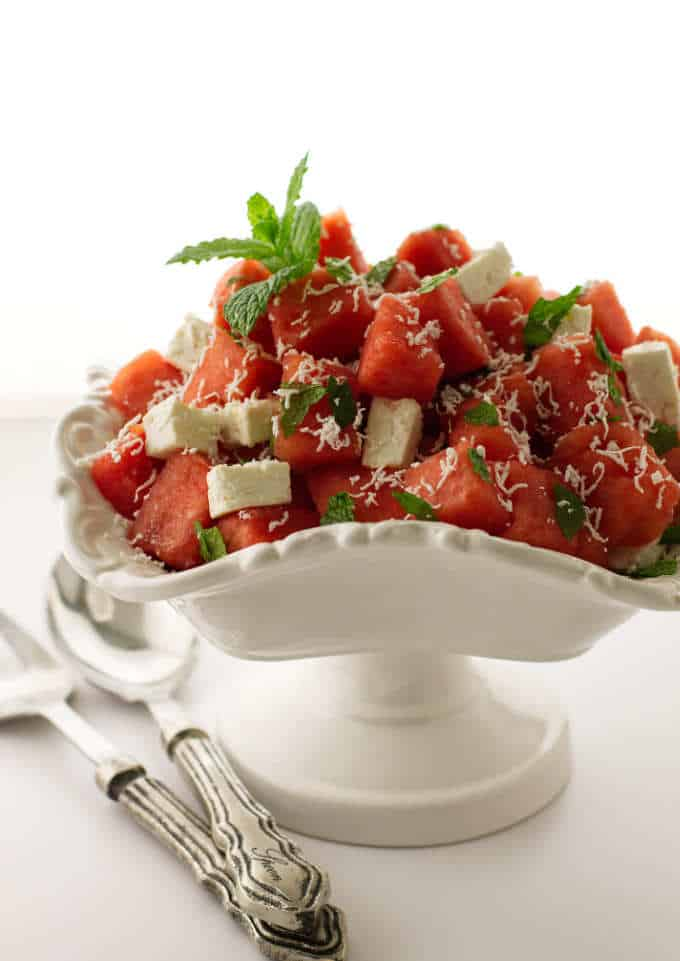 Bowl of watermelon, feta and mint salad