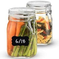 Bormioli Rocco Glass Fido Jars - 33.¾ Ounce - 1 Liter - with hinged hermetically Sealed Airtight lid for Fermenting, Canning, Preserving, With Exclusive Paksh Novelty Chalkboard Labels Set (2 Jars)