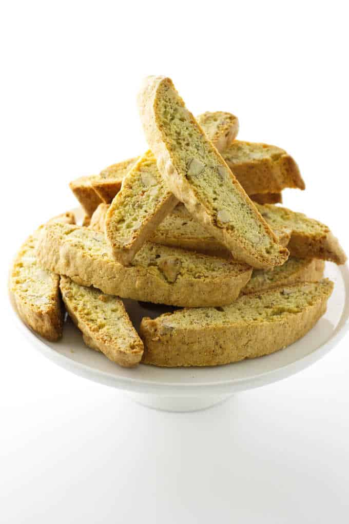 A plate of biscotti cookies