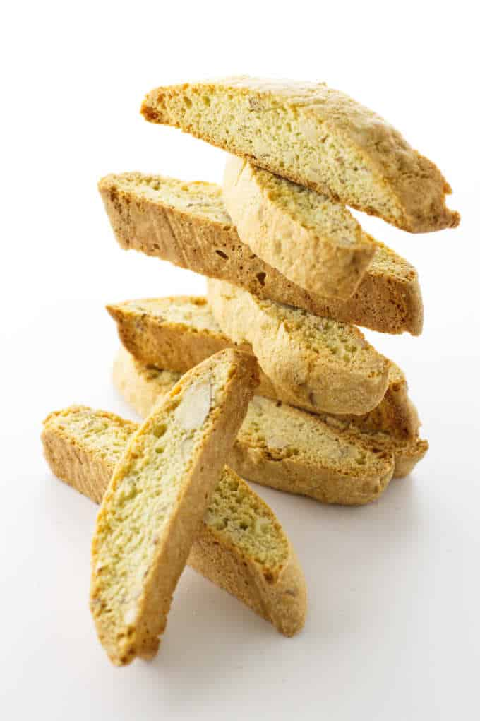 a stack of almond biscotti