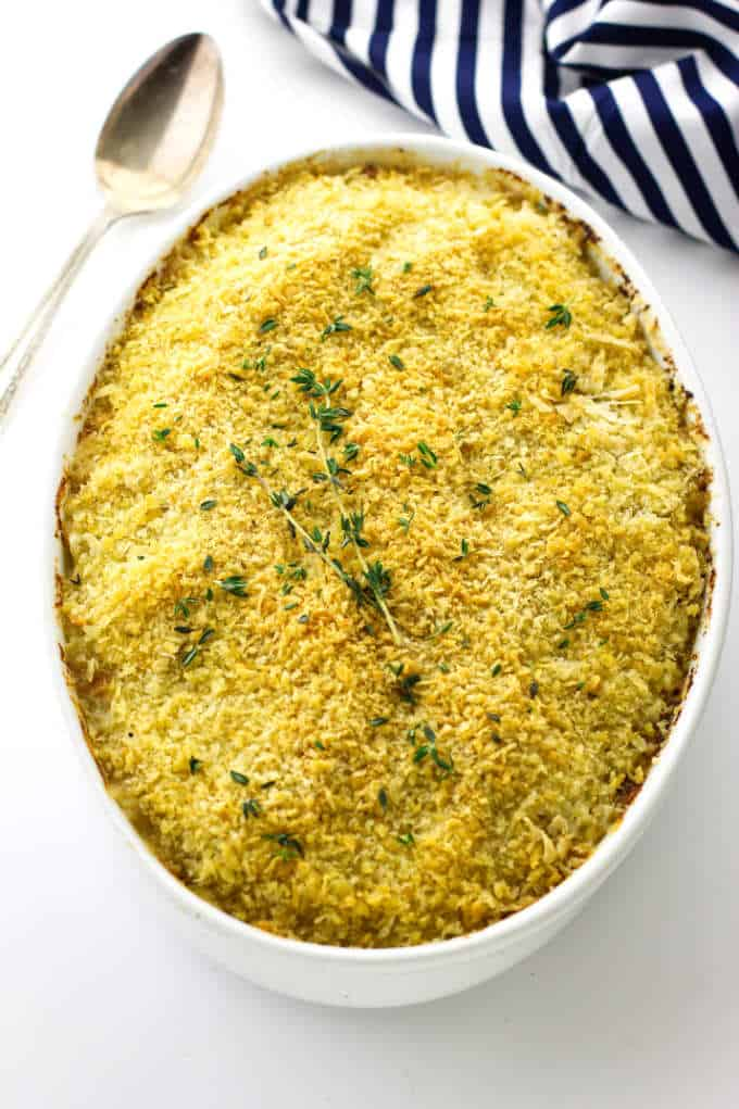 Overhead view of potatoes Au Gratin